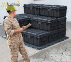 Peli 0550 műanyag táska, védőtok (görgő és magasító láb külön rendelhető) Villás targoncával emelhető Belső: 1208x611x449 mm