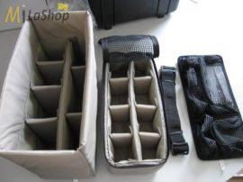 Fotós táska betét:  tépőzáras választófal (divider set)  + fedélrendező + vállpánt Peli 1430 táskához