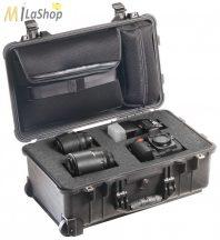 Peli 1510LFC Stúdió Táska: gurulós műanyag táska szivacsos, laptoptartóval a fedélben, (fotós táska), Belső: 502x280x193 mm
