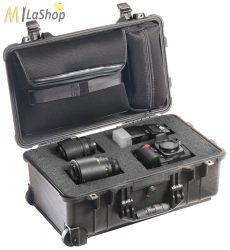 Peli Case 1510LFC Stúdió Védőtáska: gurulós műanyag táska szivacsos, laptoptartóval a fedélben, (fotós táska), Belső: 502x280x193 mm