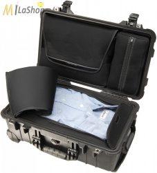 Peli 1510 LOC gurulós műanyag utazó táska (alul ruhás pakoló résszel, felül laptop tartóval), Belső: 502x280x193 mm