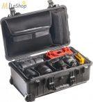 Peli 1510SC Stúdió Táska: gurulós műanyag táska választófalas betéttel, laptoptartóval a fedélben (fotós táska), Belső: 502x280x193 mm