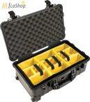 Peli 1510 gurulós műanyag táska, Carry On bőrönd, választófalas betéttel Belső: 502x280x193 mm