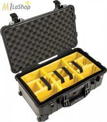 Peli Case 1510 gurulós műanyag védőtáska, Carry On bőrönd, választófalas betéttel Belső: 502x280x193 mm