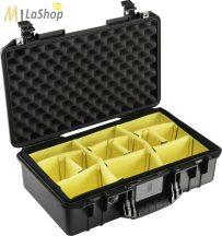 Peli AIR CASE 1525 műanyag táska, védőtok - fekete színben, választható felszereltséggel Belső: 521x287x171 mm