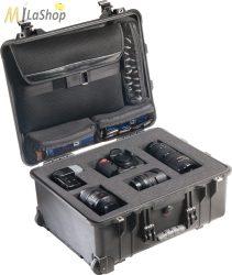 Peli 1560LFC Stúdió Táska: gurulós műanyag táska, szivacsos, laptoptartóval a fedélben, Belső: 518x392x229 mm