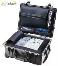 Peli 1560 LOC gurulós műanyag utazó táska (alul ruhás pakoló résszel, felül laptop tartóval), Belső: 518x392x229 mm