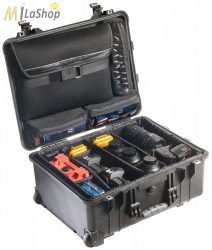 Peli Case 1560SC Stúdió Táska: gurulós műanyag védőtáska, választófalas betéttel, laptoptartóval a fedélben, Belső: 518x392x229 mm